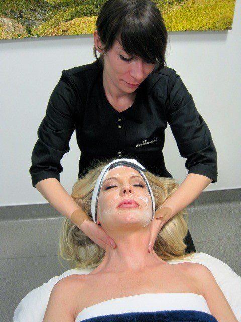 Contour Dermatology Esthetician Anne Marie Johnson includes facial massage as part  of a facial treatment