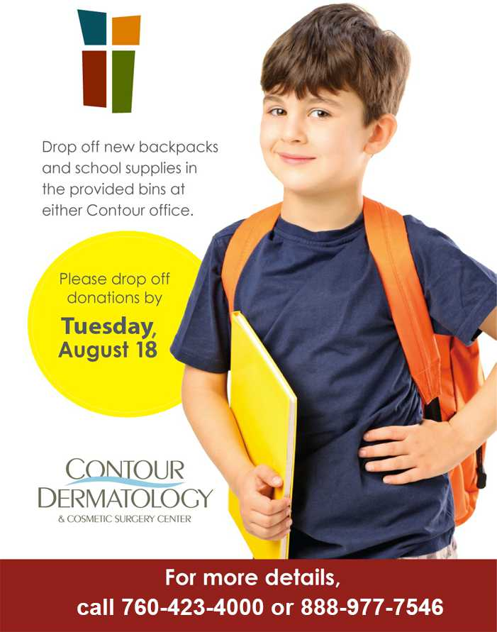2015 Coachella Valley Rescue Mission Backpack Drive, August 22, 2015 at Contour Dermatology.