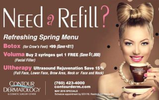 May 2016 Specials, Voluma, Botox & Ultherapy are all on special!